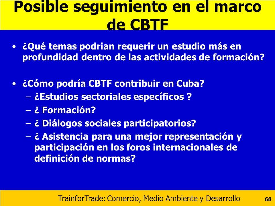 Posible seguimiento en el marco de CBTF