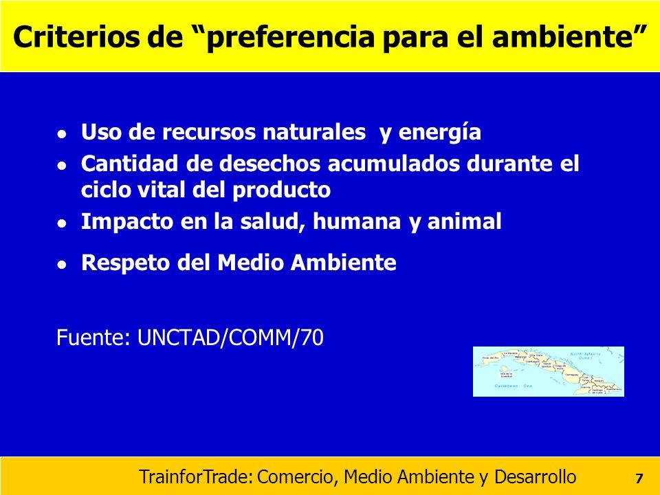 Criterios de preferencia para el ambiente