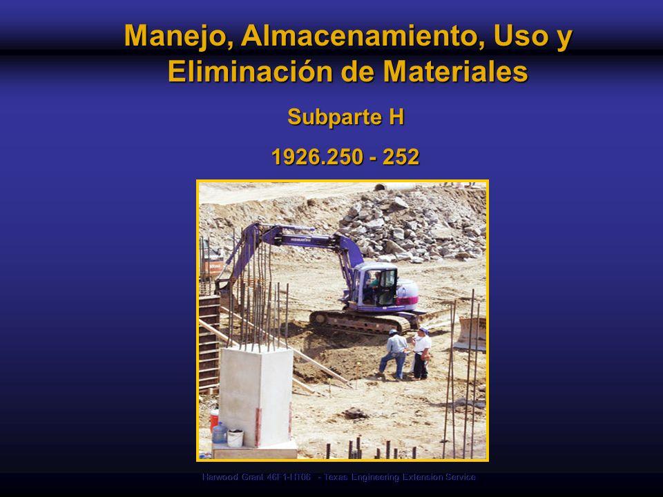 Manejo, Almacenamiento, Uso y Eliminación de Materiales