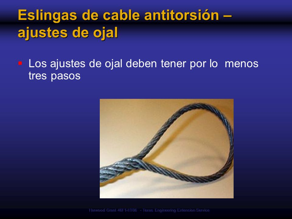 Eslingas de cable antitorsión – ajustes de ojal