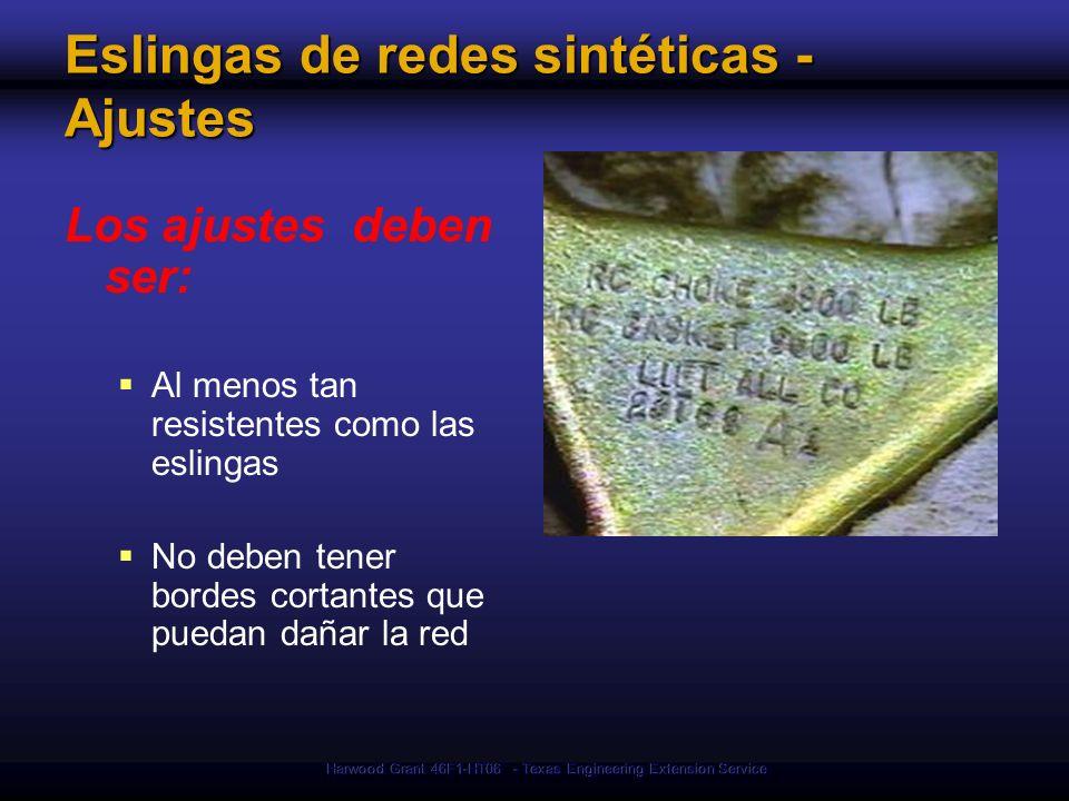 Eslingas de redes sintéticas - Ajustes