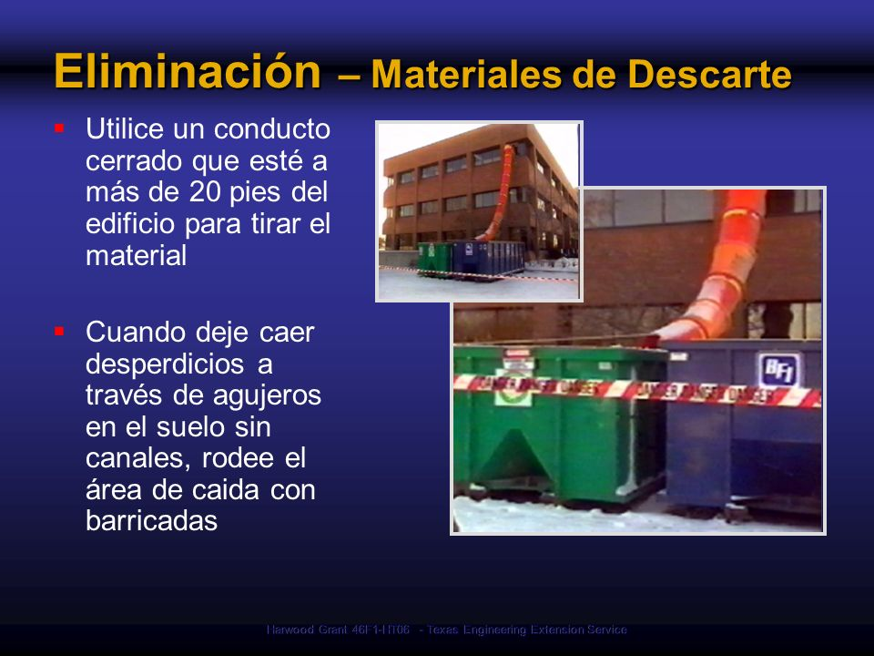Eliminación – Materiales de Descarte