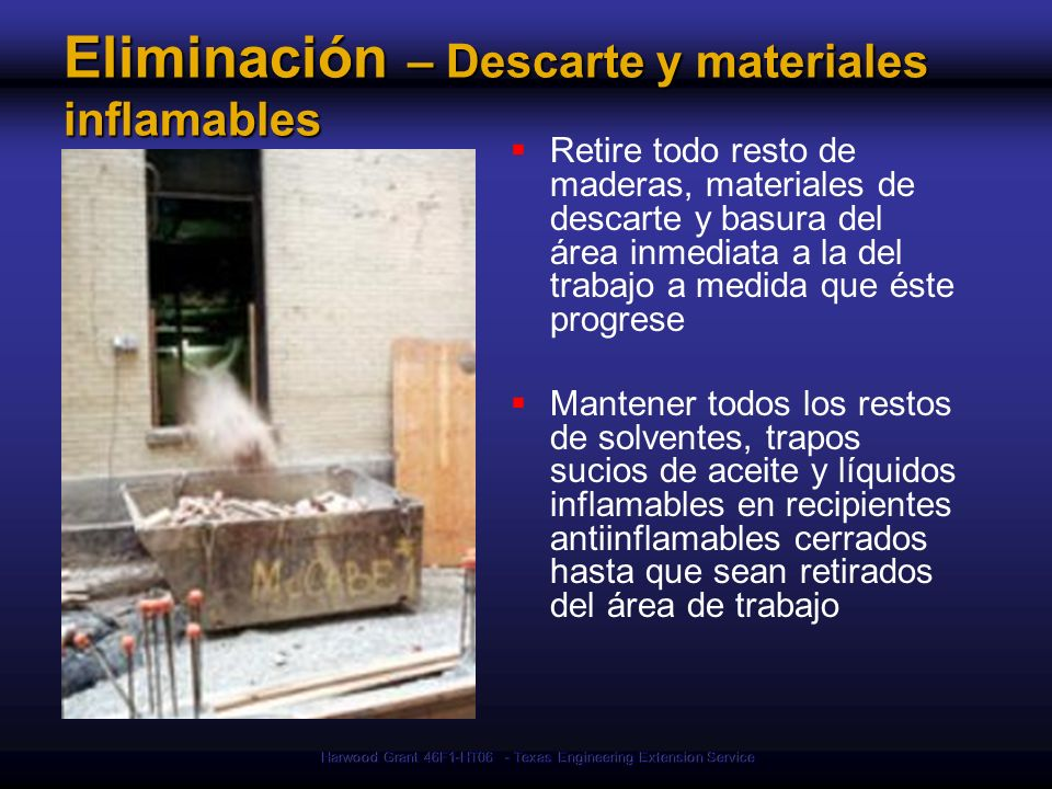 Eliminación – Descarte y materiales inflamables