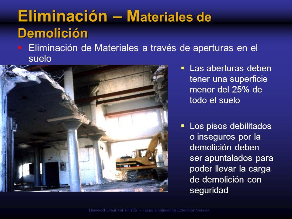 Eliminación – Materiales de Demolición