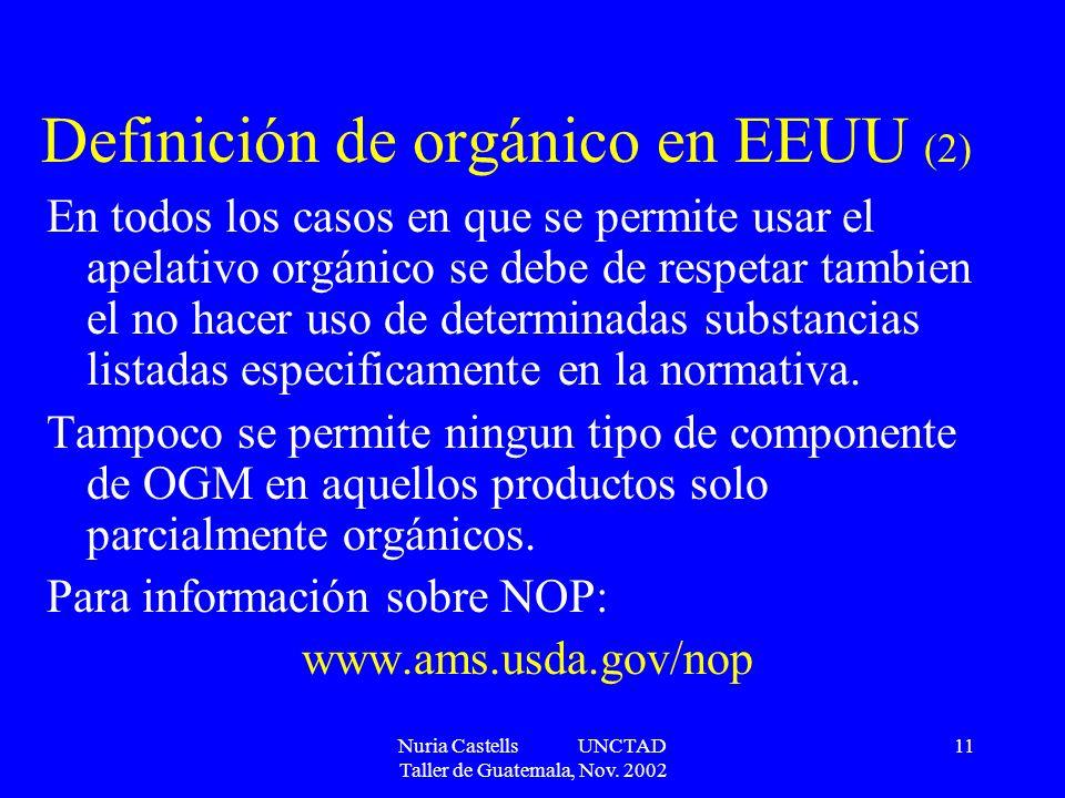 Definición de orgánico en EEUU (2)