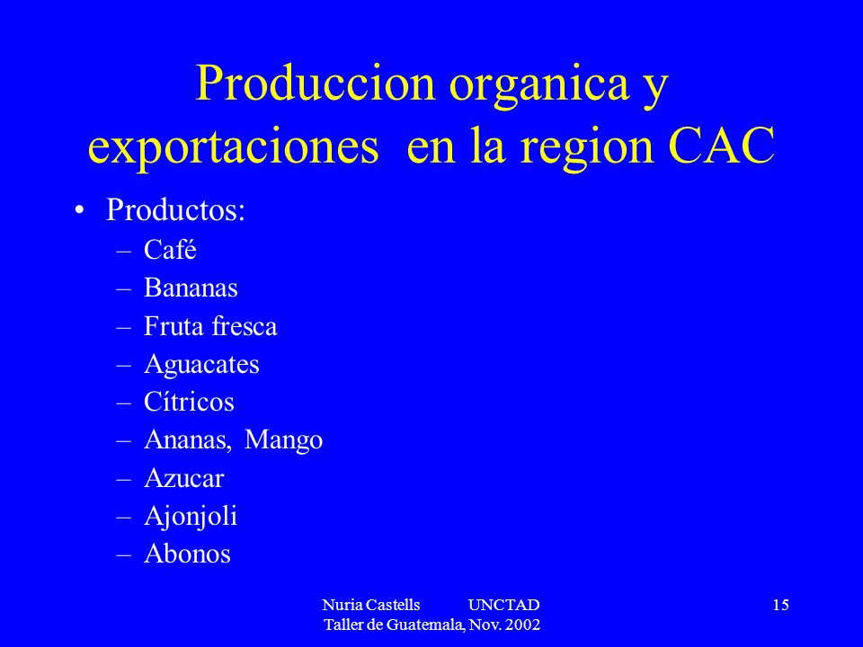 Produccion organica y exportaciones en la region CAC