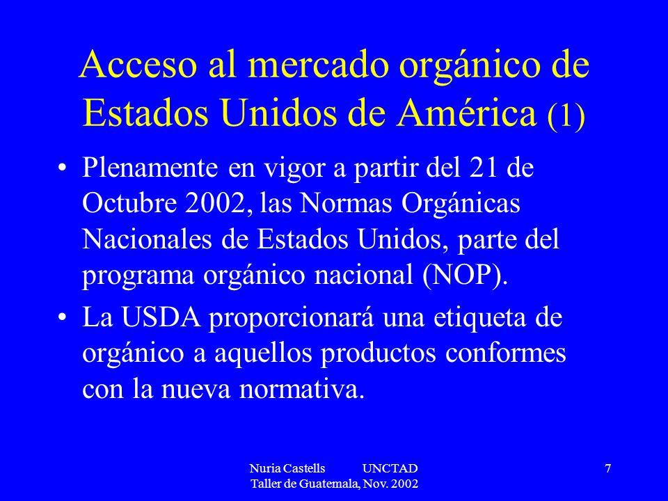 Acceso al mercado orgánico de Estados Unidos de América (1)