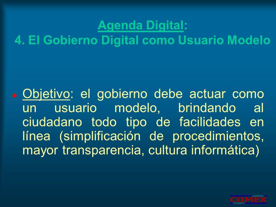 Agenda Digital: 4. El Gobierno Digital como Usuario Modelo