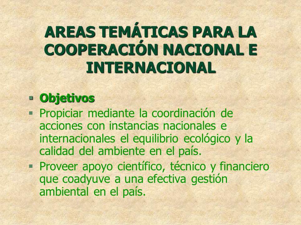 AREAS TEMÁTICAS PARA LA COOPERACIÓN NACIONAL E INTERNACIONAL