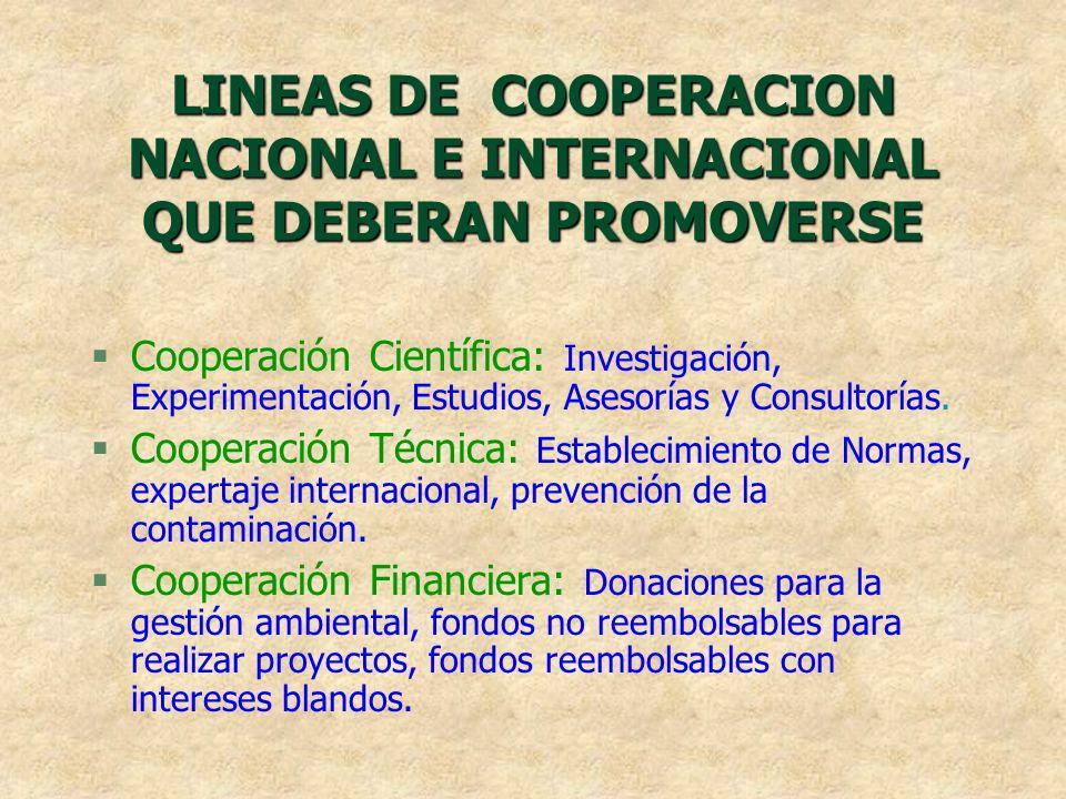 LINEAS DE COOPERACION NACIONAL E INTERNACIONAL QUE DEBERAN PROMOVERSE