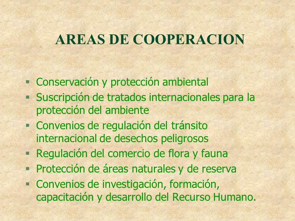 AREAS DE COOPERACION Conservación y protección ambiental
