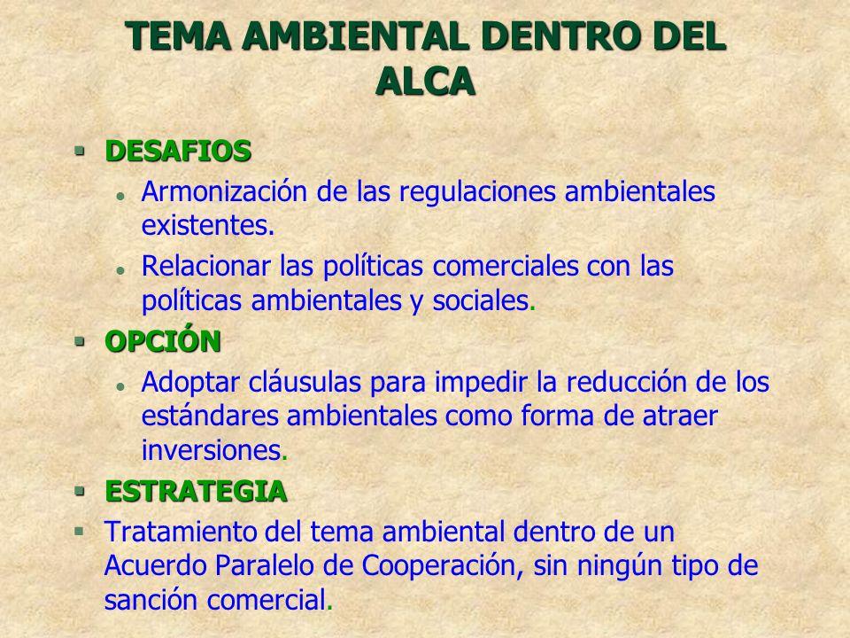 TEMA AMBIENTAL DENTRO DEL ALCA