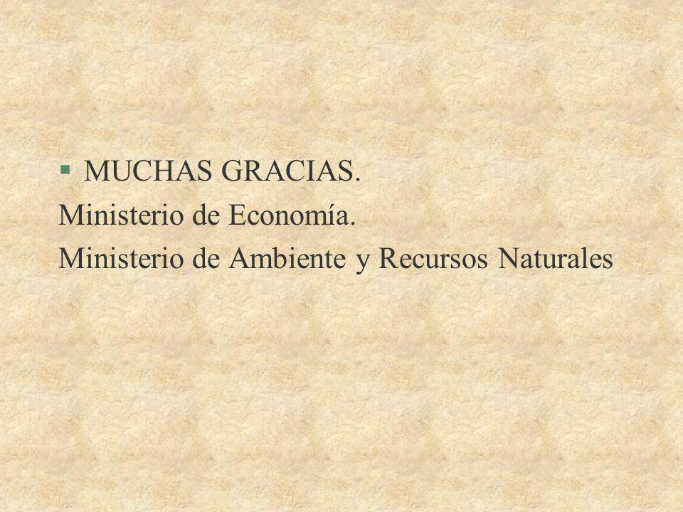 MUCHAS GRACIAS. Ministerio de Economía. Ministerio de Ambiente y Recursos Naturales