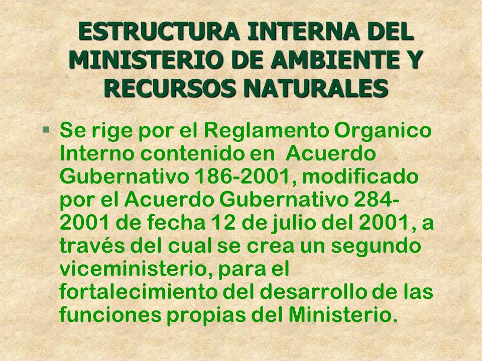 ESTRUCTURA INTERNA DEL MINISTERIO DE AMBIENTE Y RECURSOS NATURALES
