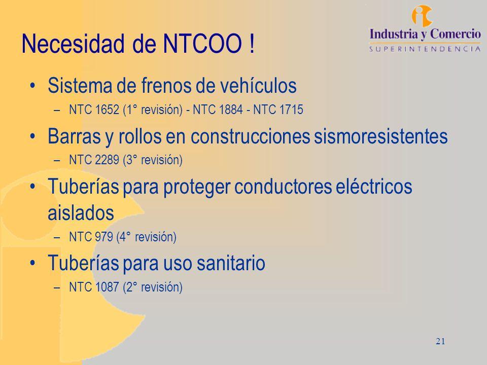 Necesidad de NTCOO ! Sistema de frenos de vehículos