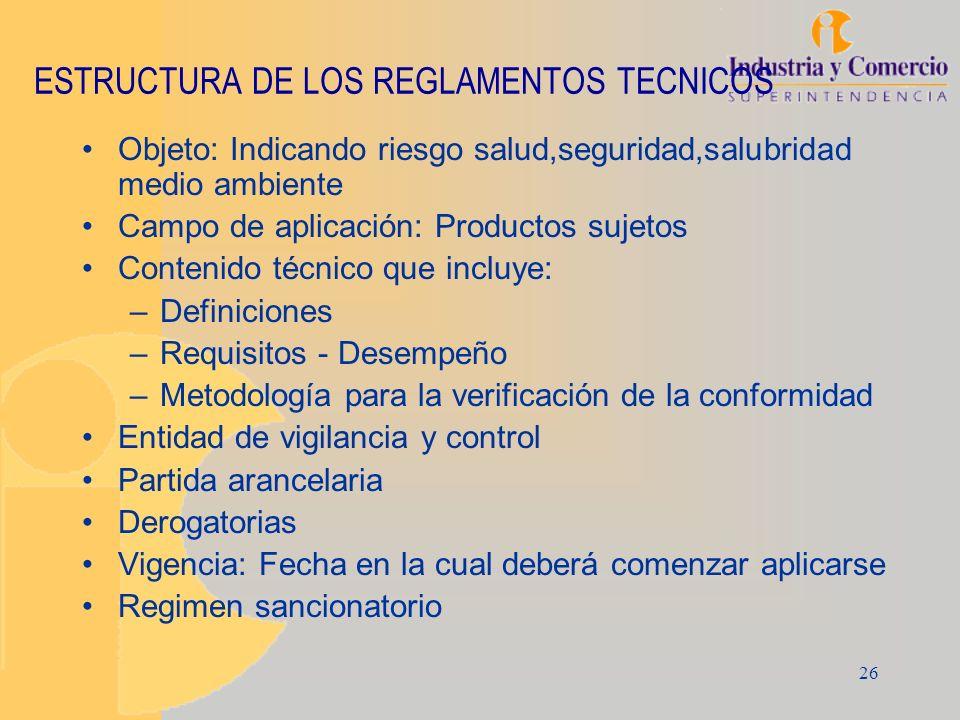 ESTRUCTURA DE LOS REGLAMENTOS TECNICOS