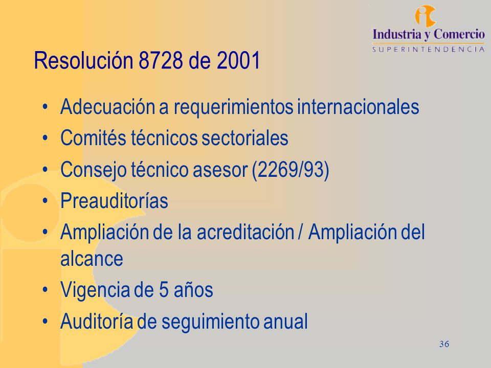 Resolución 8728 de 2001 Adecuación a requerimientos internacionales