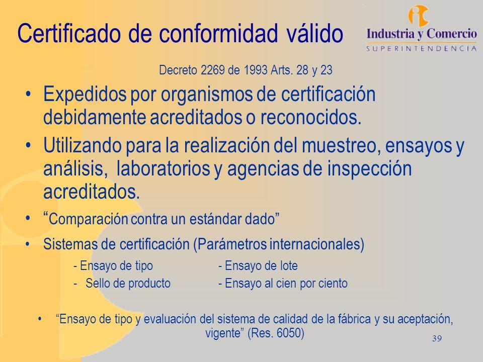 Certificado de conformidad válido