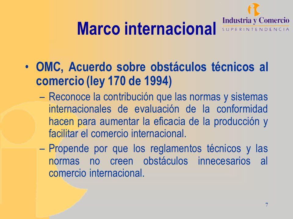 Marco internacional OMC, Acuerdo sobre obstáculos técnicos al comercio (ley 170 de 1994)