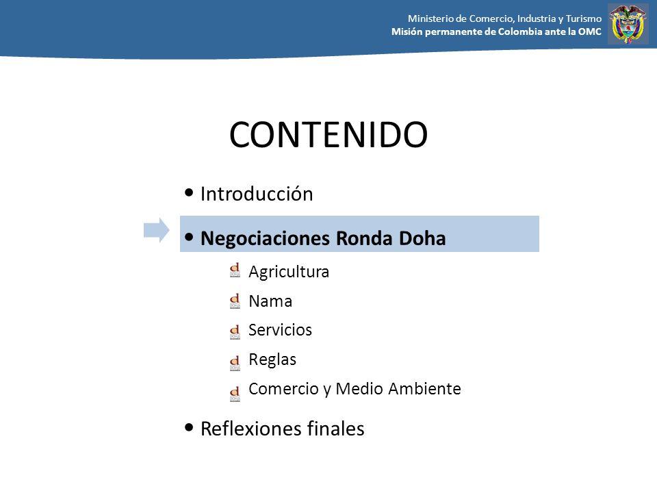 CONTENIDO Introducción Negociaciones Ronda Doha Reflexiones finales