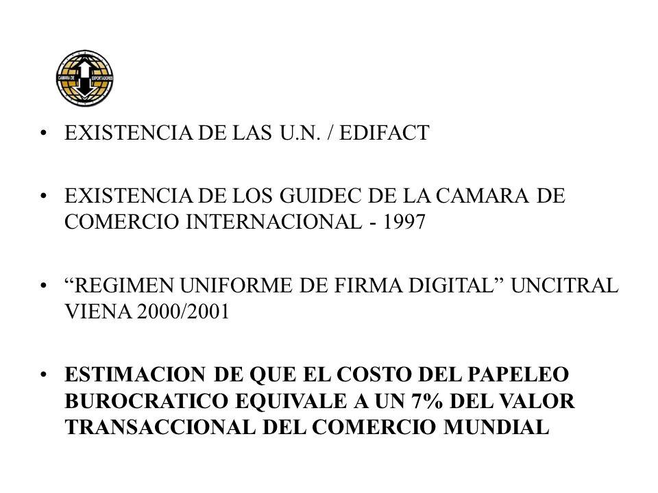 EXISTENCIA DE LAS U.N. / EDIFACT