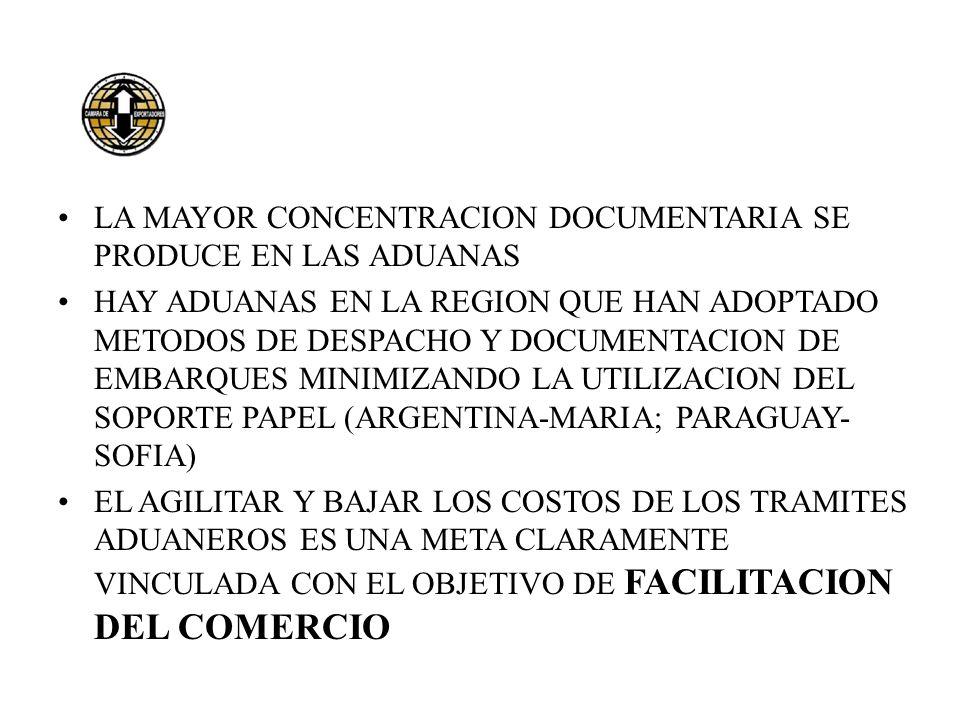 LA MAYOR CONCENTRACION DOCUMENTARIA SE PRODUCE EN LAS ADUANAS