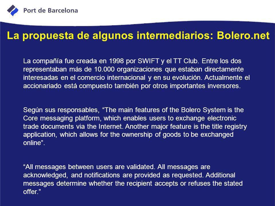 La propuesta de algunos intermediarios: Bolero.net