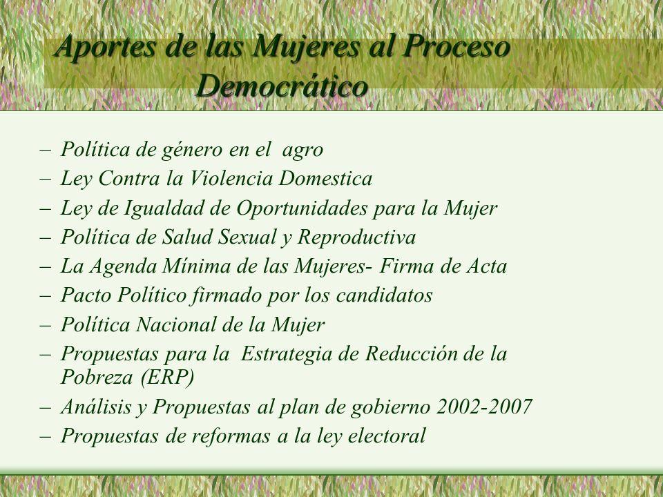 Aportes de las Mujeres al Proceso Democrático