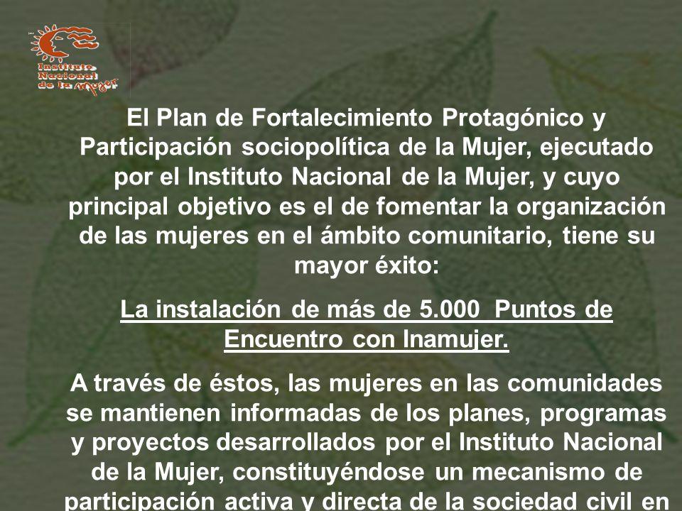 La instalación de más de 5.000 Puntos de Encuentro con Inamujer.