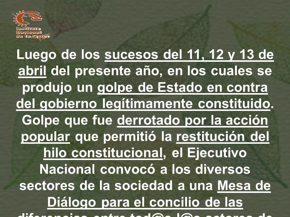 Luego de los sucesos del 11, 12 y 13 de abril del presente año, en los cuales se produjo un golpe de Estado en contra del gobierno legítimamente constituido.