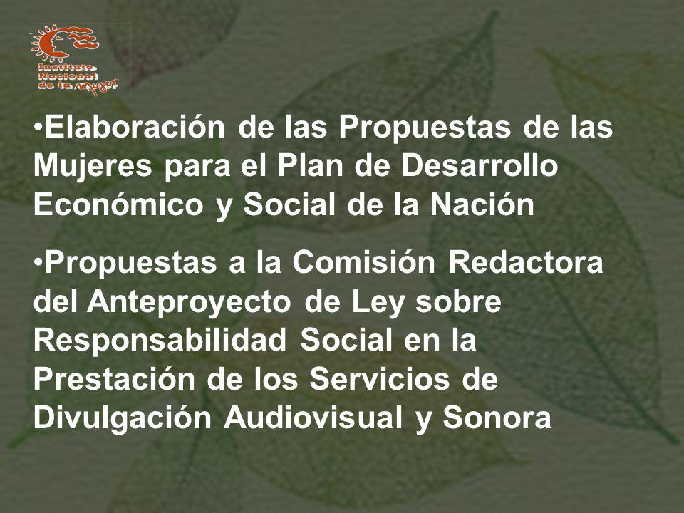 Elaboración de las Propuestas de las Mujeres para el Plan de Desarrollo Económico y Social de la Nación