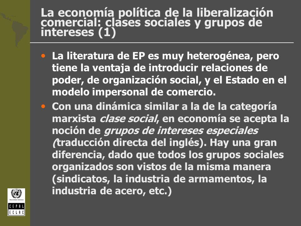 La economía política de la liberalización comercial: clases sociales y grupos de intereses (1)