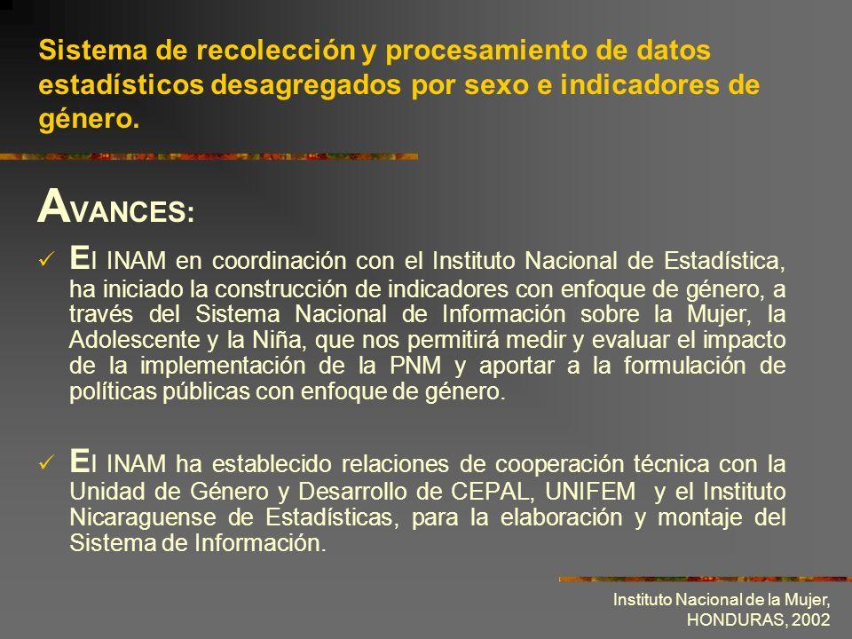 Sistema de recolección y procesamiento de datos estadísticos desagregados por sexo e indicadores de género.