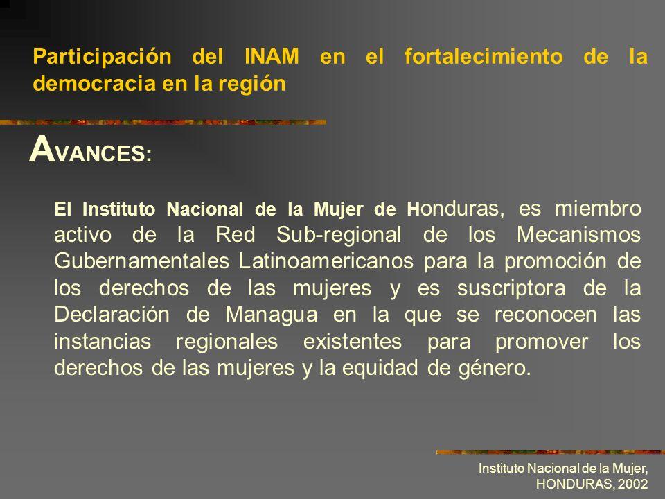 Participación del INAM en el fortalecimiento de la democracia en la región