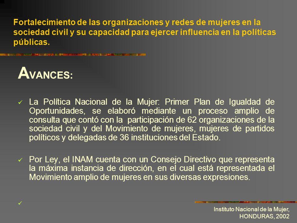 Fortalecimiento de las organizaciones y redes de mujeres en la sociedad civil y su capacidad para ejercer influencia en la políticas públicas.