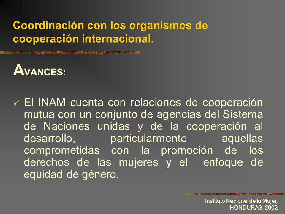 Coordinación con los organismos de cooperación internacional.