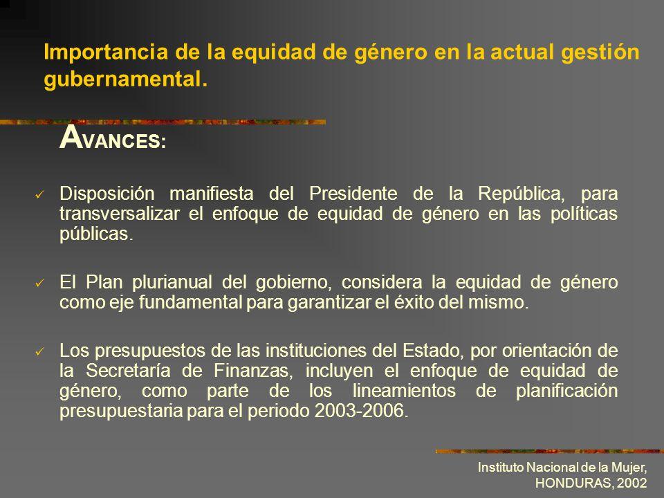 Importancia de la equidad de género en la actual gestión gubernamental.