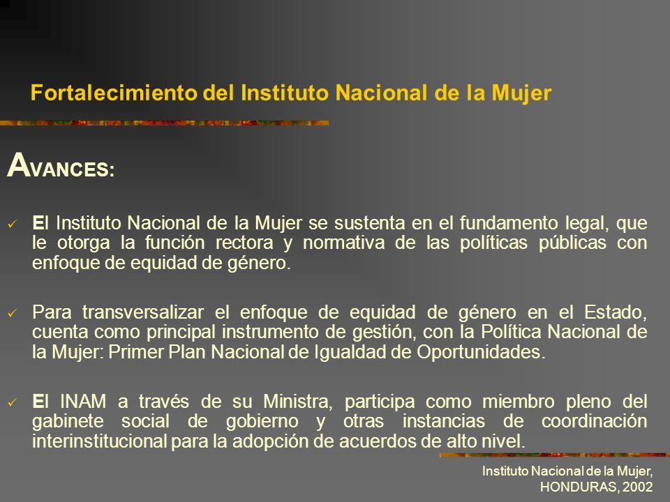 Fortalecimiento del Instituto Nacional de la Mujer
