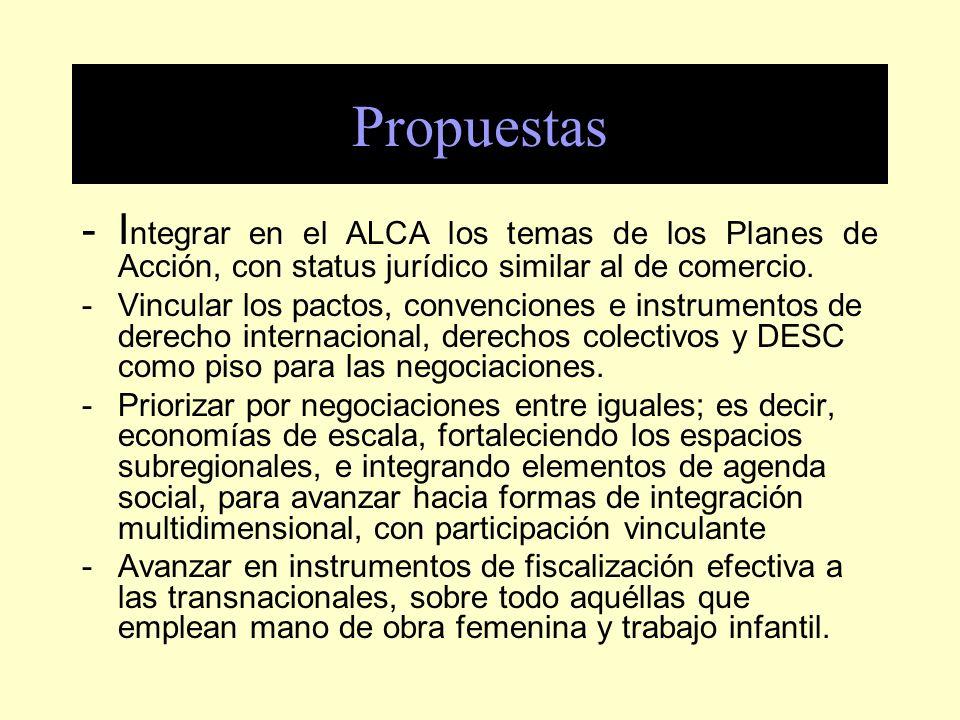Propuestas - Integrar en el ALCA los temas de los Planes de Acción, con status jurídico similar al de comercio.