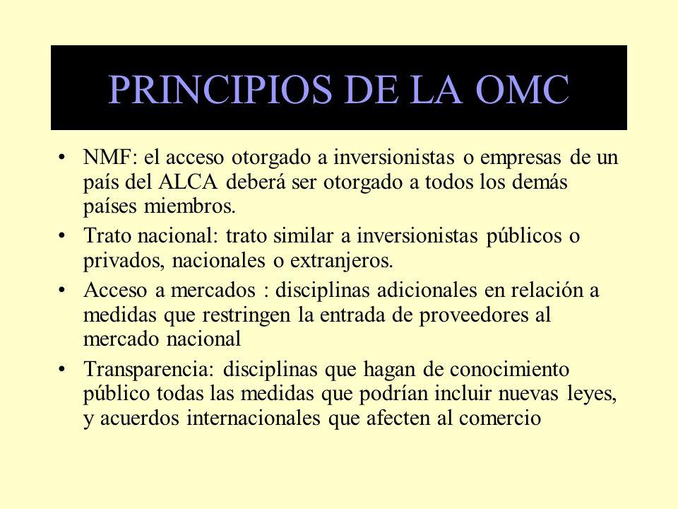 PRINCIPIOS DE LA OMC NMF: el acceso otorgado a inversionistas o empresas de un país del ALCA deberá ser otorgado a todos los demás países miembros.