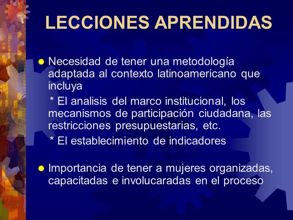 LECCIONES APRENDIDAS Necesidad de tener una metodología adaptada al contexto latinoamericano que incluya.