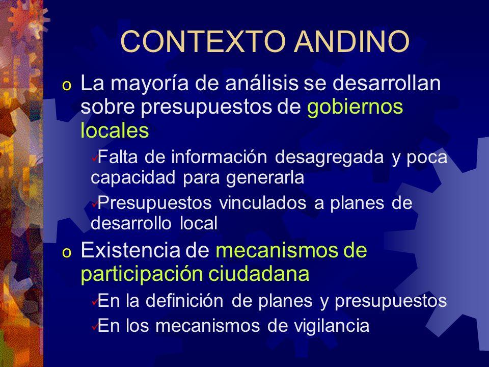 CONTEXTO ANDINO La mayoría de análisis se desarrollan sobre presupuestos de gobiernos locales.