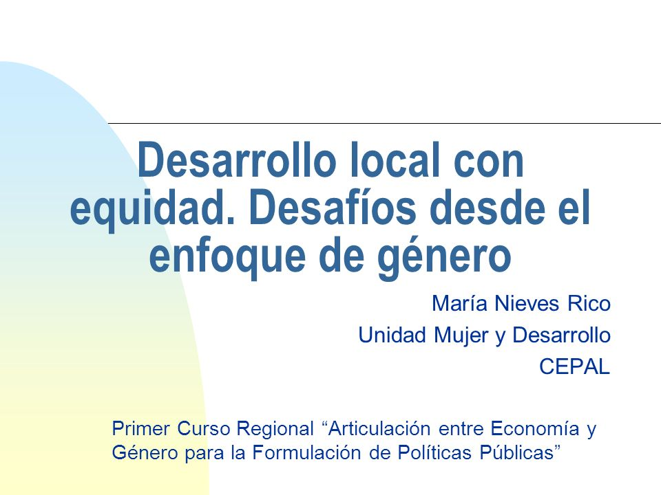 Desarrollo local con equidad. Desafíos desde el enfoque de género