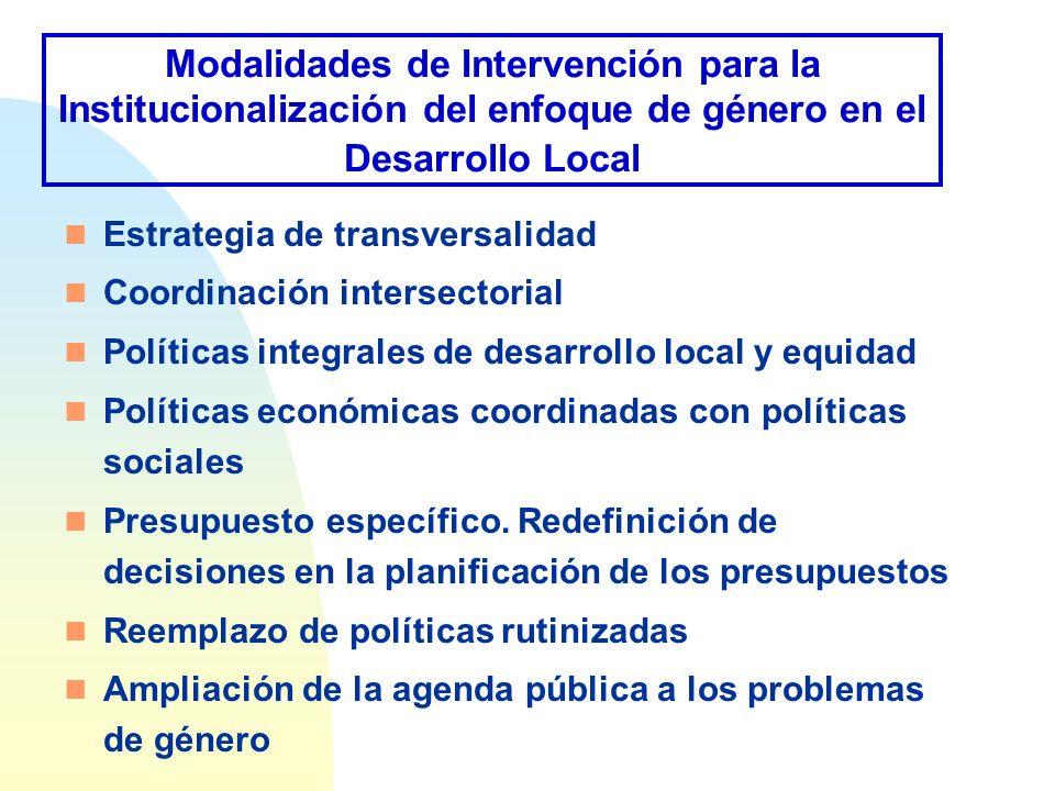 Modalidades de Intervención para la Institucionalización del enfoque de género en el Desarrollo Local