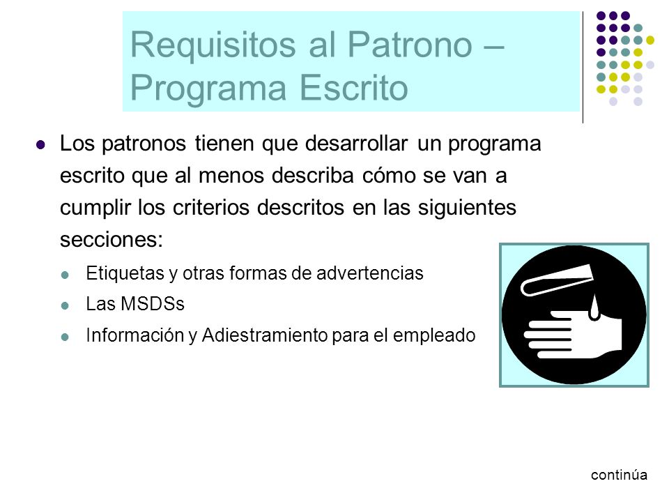 Requisitos al Patrono – Programa Escrito