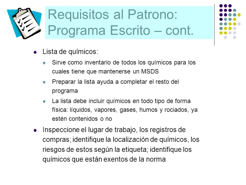 Requisitos al Patrono: Programa Escrito – cont.
