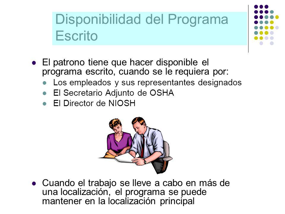 Disponibilidad del Programa Escrito