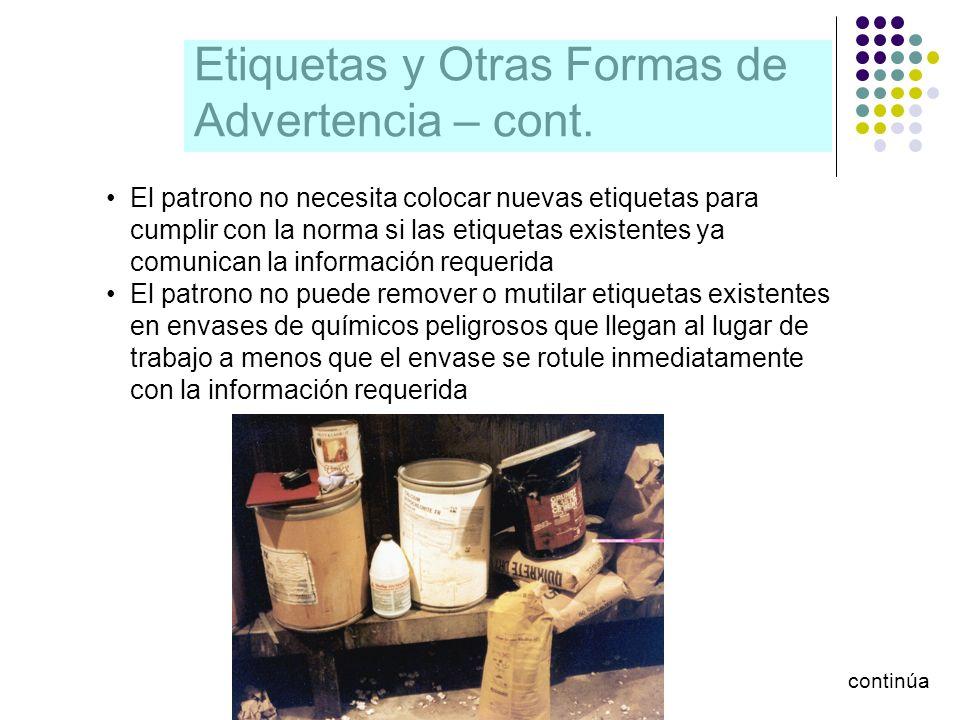 Etiquetas y Otras Formas de Advertencia – cont.