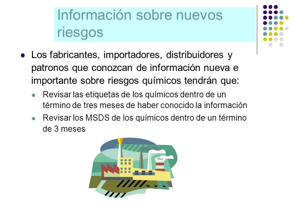 Información sobre nuevos riesgos