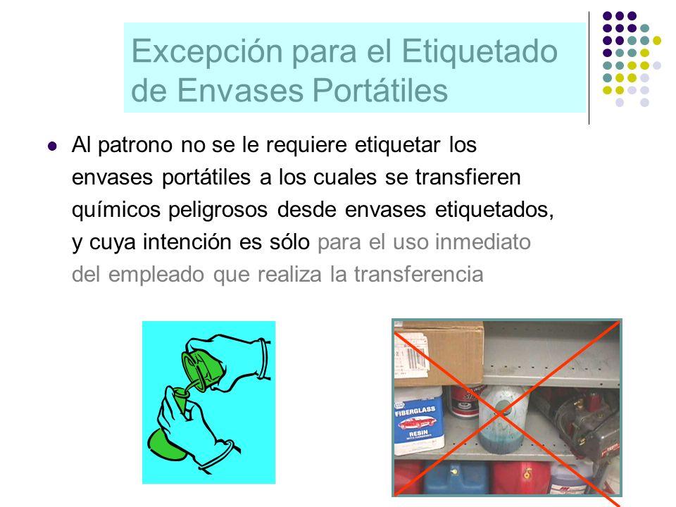 Excepción para el Etiquetado de Envases Portátiles